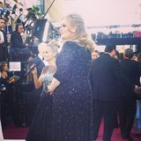 Adele kept it sleek in Jenny Packham. Source: Instagram user theacademy
