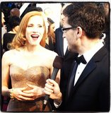 A closer look at Jessica Chastain's custom Armani Privé beaded dress and cuff. Source: Instagram user joshuahorowitz