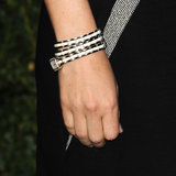 While it may look like a white wraparound cuff from afar, Rose Byrne's bracelet actually doubled as a watch, too.