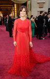Oscar nominee Sally Field's Valentino gown balanced its long-sleeved silhouette with semisheer panels.