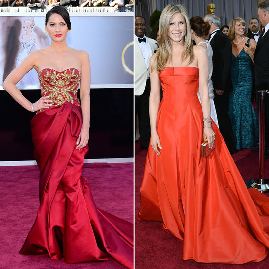 Jennifer Aniston and Olivia Munn Lead Oscar Night's Red-Hot Trend