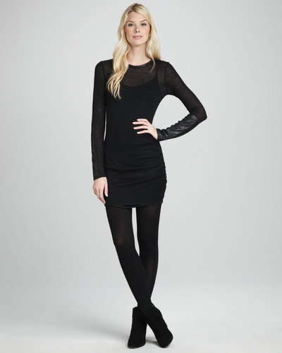 SW3 Bespoke Helmsley Faux-Leather-Trim Knit Dress