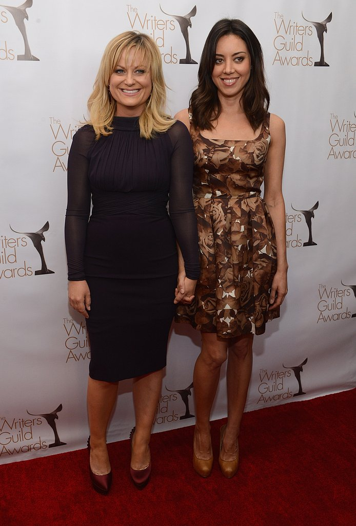 Amy Poehler and Aubrey Plaza walked the red carpet together at the WGA Awards in LA.