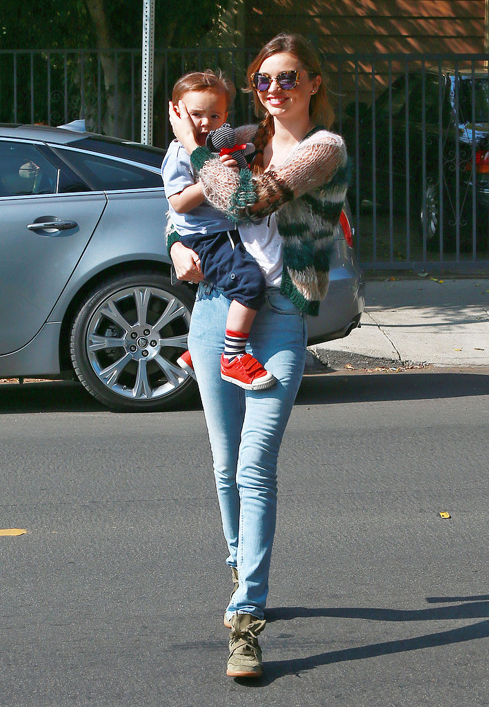 Miranda Kerr carried Flynn to a playdate in LA.