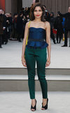 Freida Pinto wore jewel-colored tones to Burberry Prorsum's Autumn/Winter 2013 fashion show on Monday.
