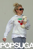 Britney Spears held her injured puppy close.