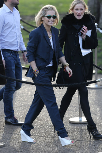 Rita Ora arrived at the Burberry Prorsum Fall 2013 fashion show in London in February.
