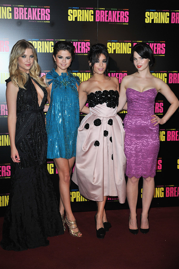 Spring Breakers co-stars Ashley Benson, Selena Gomez, Vanessa Hudgens and Rachel Korine attended their Paris premiere.