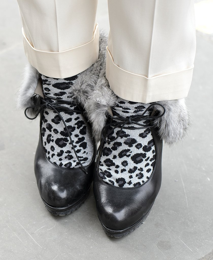 Spotted animal-print socks gave these fur-lined pumps an extracozy touch.