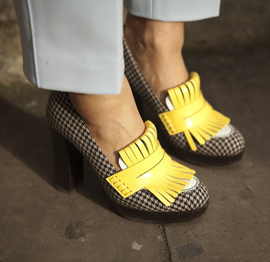 Printed loafers injected a touch of whimsy into a pair of cropped trousers.