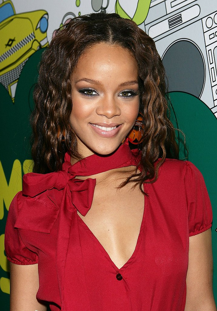 In 2006, a fresh-faced Rihanna wore her long hair crimped, along with a subtle gray smoky eye, to an appearance on MTV's TRL.