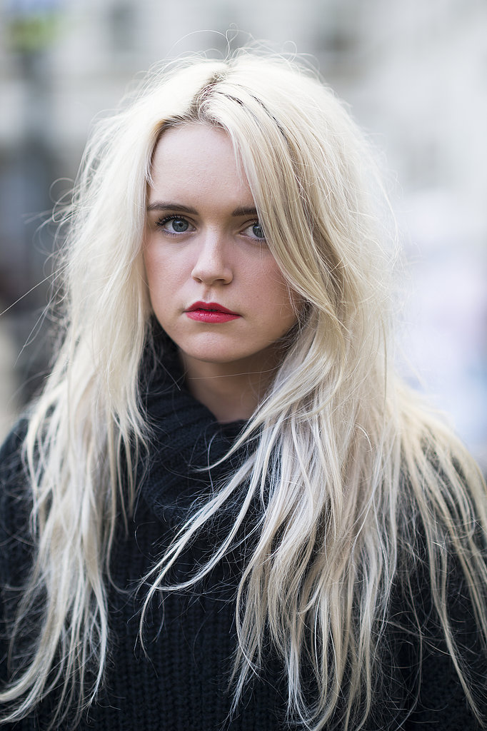 A classic red lip looked current with Jessica Wakeman's textured hair. Source: Le 21ème | Adam Katz Sinding