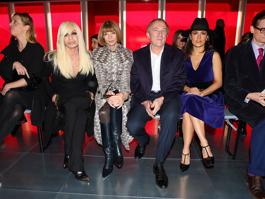 Salma Hayek sat with Francois-Henri Pinault, Anna Wintour, and Donatella Versace.