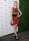 Jaime King wore a bright dress.