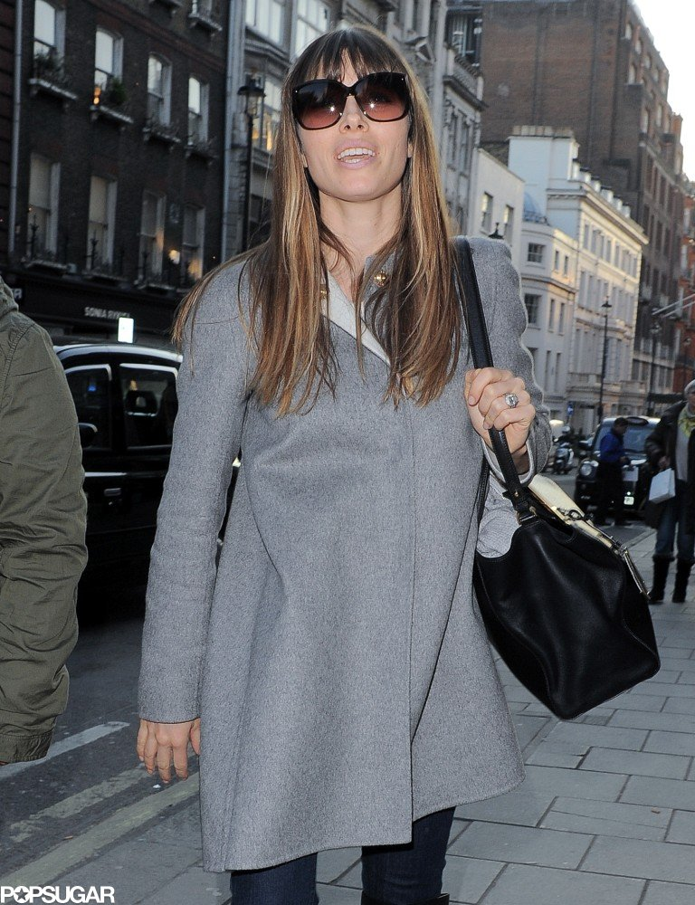 Jessica Biel wore a gray coat.
