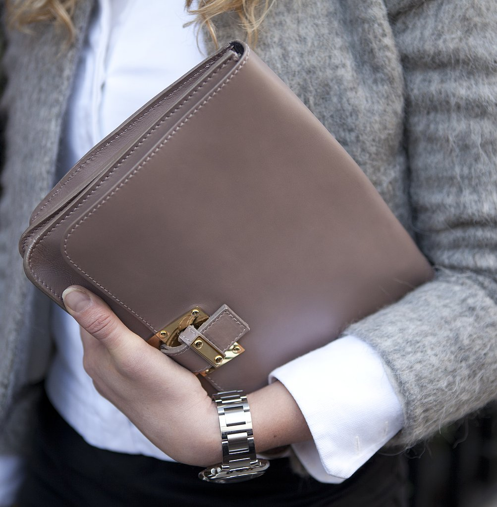 A taupe clutch lent a ladylike touch to Winter neutrals.