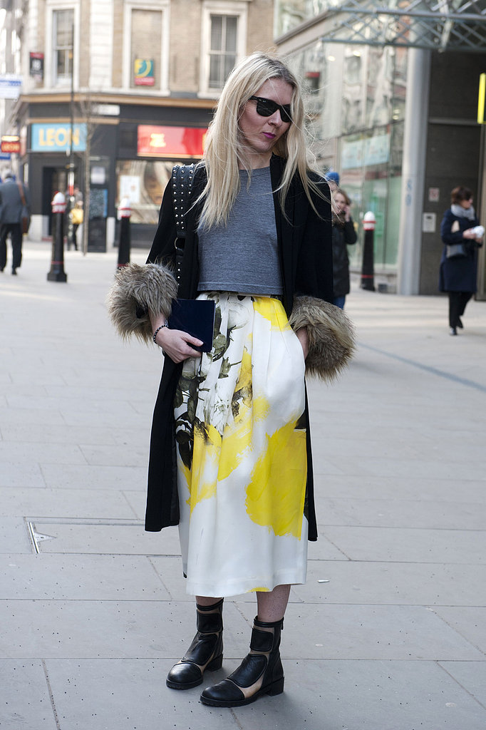 This showgoer's gorgeous floral-print Christopher Kane skirt was the star of this street-style moment.