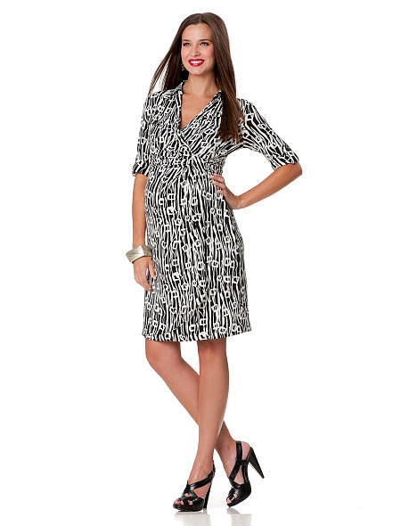Who says a wrap dress actually has to wrap? This Suzi Chin Maggy Boutique Elbow Sleeve Faux Wrap Maternity Dress ($150) gives the illusion of wrapping around the waist, but is actually sewn shut for even easier dressing.