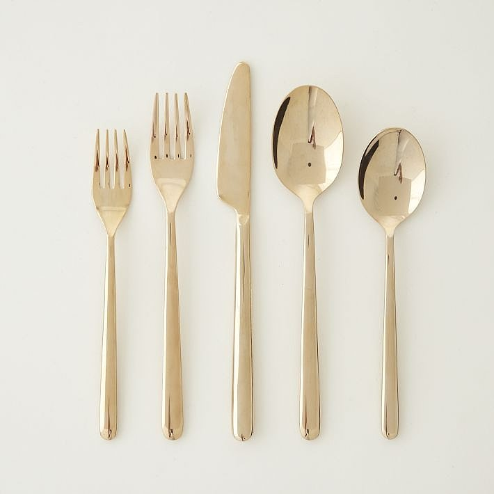 Finish the look by setting the table with this rose-gold flatware ($39 per five-piece set). Even plain white dishes will look glamorous!
