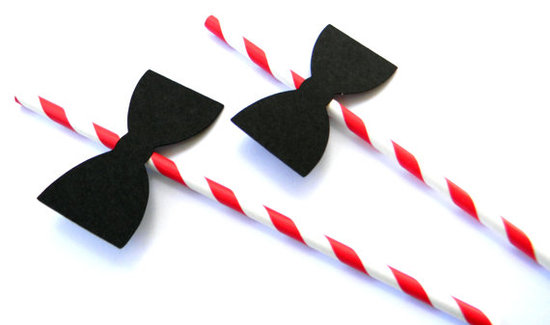 Get into the black-(bow)tie spirit by sticking these formal straws ($14 for 12) into guests' cocktails.