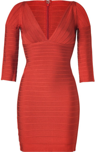 Herv Lger Red Clay V-Neck Bandage Dress