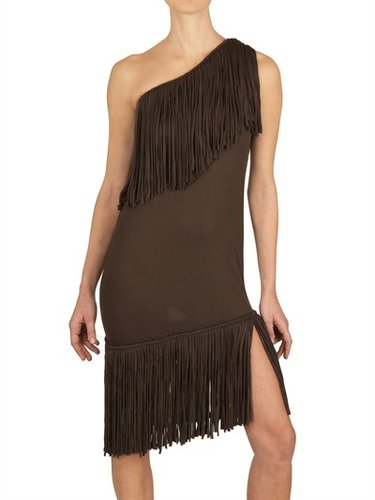 Fringed Viscose Jersey Dress