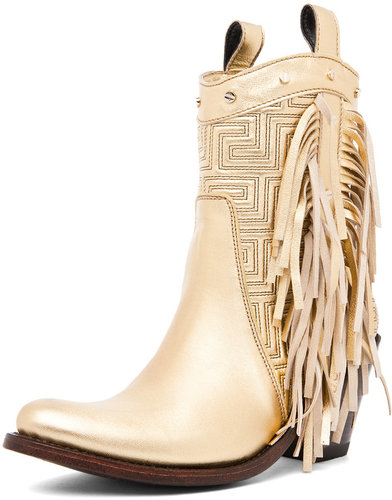 VERSACE Fringe Cowboy Boot in Gold