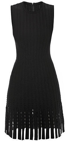 Azzedine Alaia Fleuron punched and fringed dress