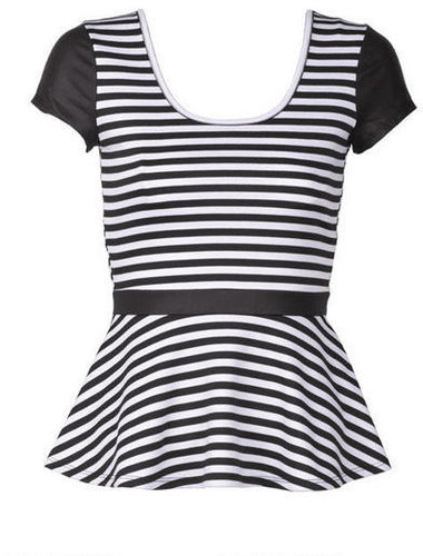 Stripe Leather Peplum Short-Sleeve
