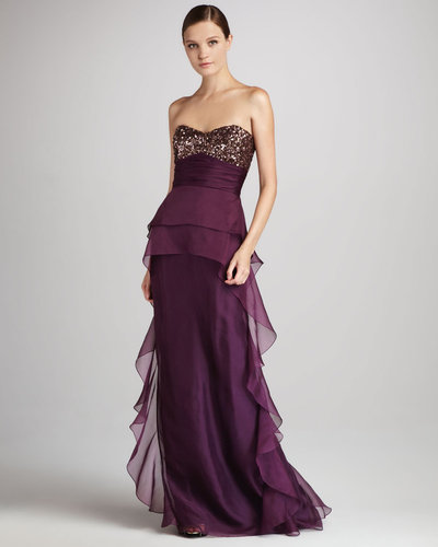 Badgley Mischka Strapless Beaded Gown with Ruffles