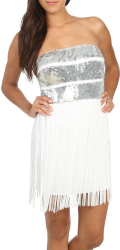 Sequin Stripe Fringe Dress