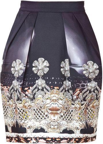 Mary Katrantzou Black Crystal Print Silk Tulip Skirt