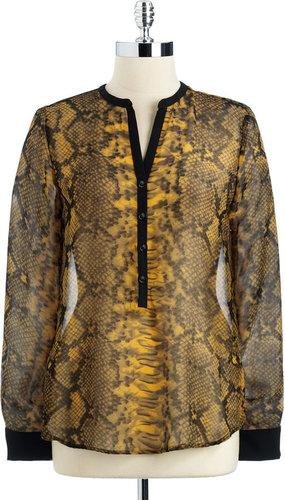 EIGHT SIXTY Snakeskin Print Semi-Sheer Blouse