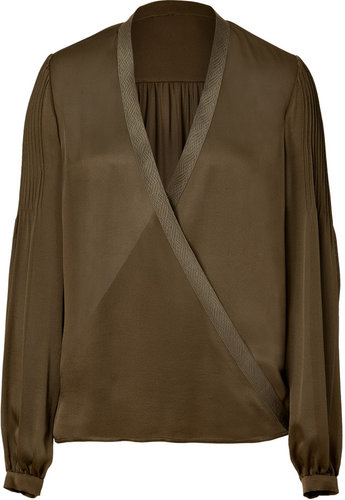 Salvatore Ferragamo Olive Sheer Silk Wrap Top