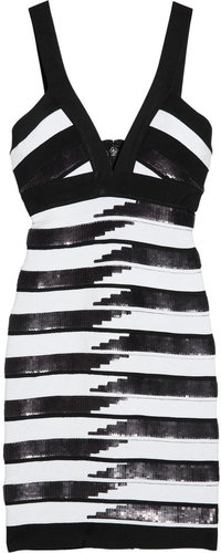 Herv Lger Sequined striped bandage dress