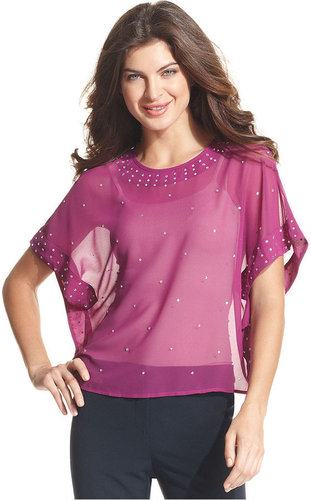 Ellen Tracy Top, Batwing-Sleeve Studded Sheer