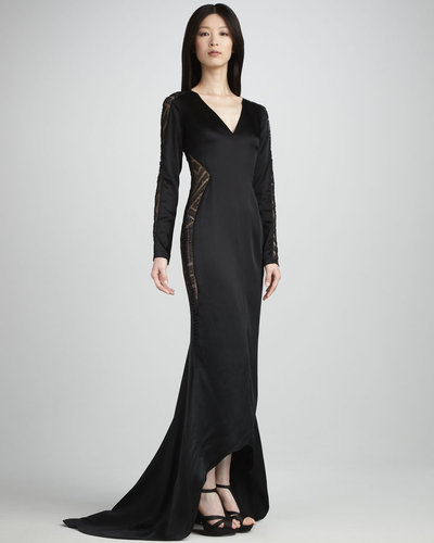 J. Mendel Sheer-Paneled Long-Sleeve Gown