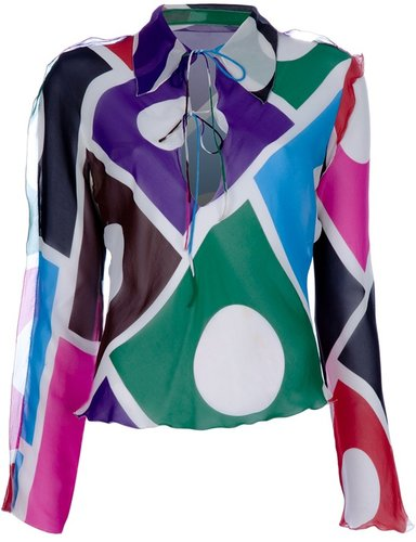 Fendi Vintage sheer multi-coloured blouse
