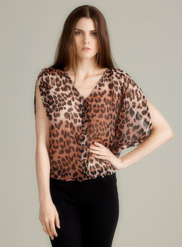 Tramp Hi Lo Sheer Leopard Blouse