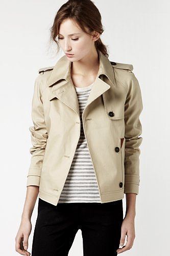 Cropped Mack Trench Jacket With Leather Trim Detail