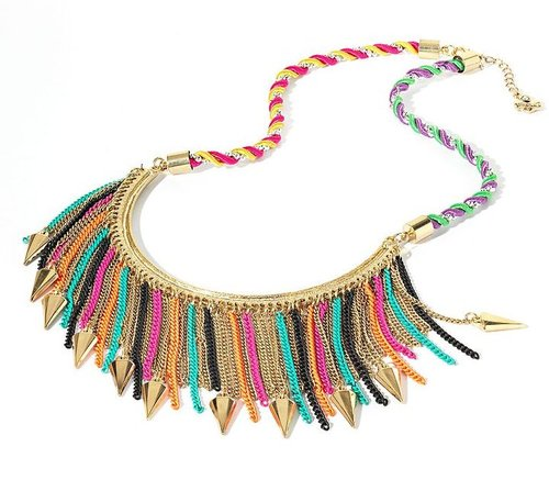Princess vera wang tri-tone arrowhead and fringe bib necklace