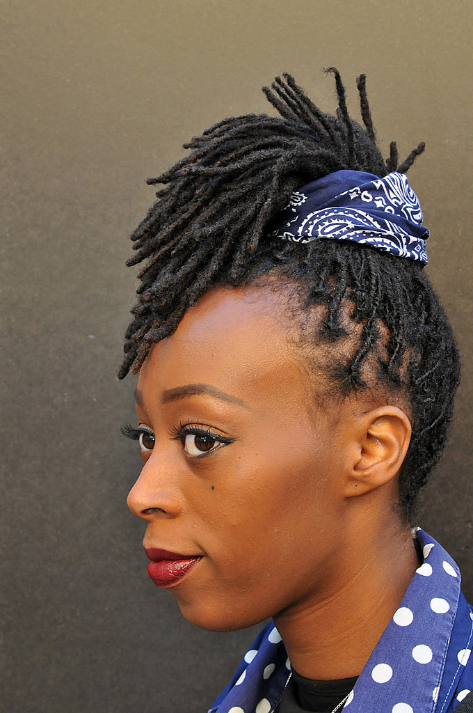We can't get over the clever way this woman used a bandanna to style her braids in a hair-raising way.
