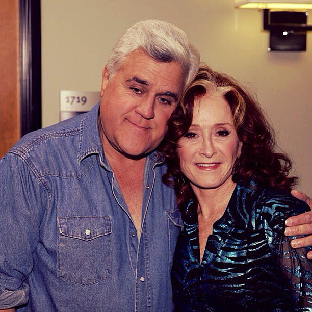 Jay Leno posed with guest Bonnie Raitt. Source: Instagram user tonightshow