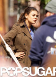 Mila Kunis put her hands on her hips during a scene on the set of her newest project.