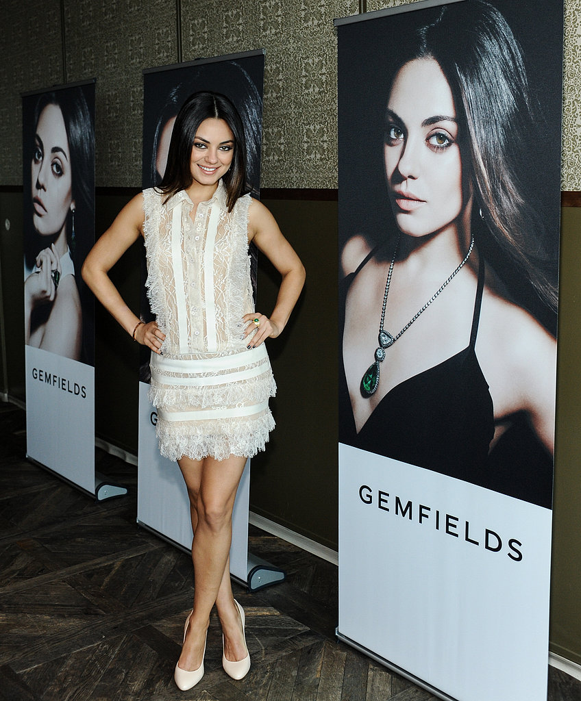 Mila Kunis celebrated her ambassadorship to Gemfields jewellery in LA.