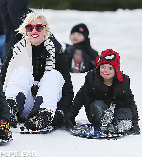 Gwen Stefani got on a sled with her son Zuma.
