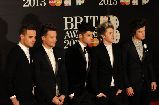 One Direction's Harry Styles, Liam Payne, Louis Tomlinson, Zayn Malik and Niall Horan hit the Brit Awards red carpet.