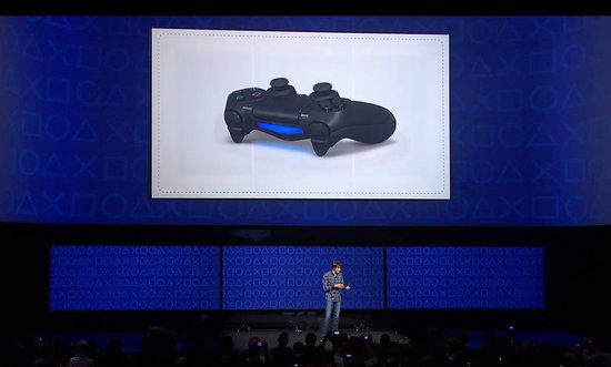 A view of the light bar on the PlayStation 4 controller, Dual Shock 4. The controller's share button gives players a shortcut to take screenshots and video clips.