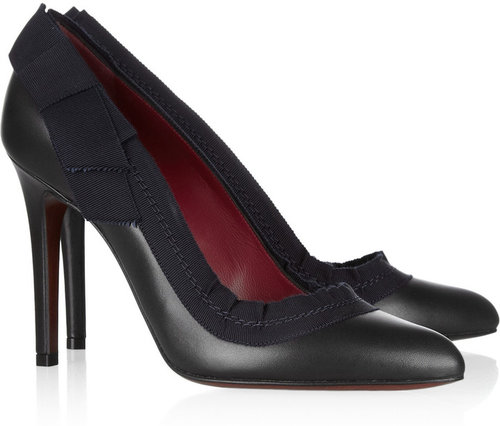 Lanvin Grosgrain-trimmed leather pumps