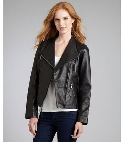 Wyatt black leather moto jacket